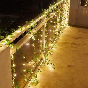 2/10M 20/100LED Leaf Garland Lamp Ivy Vine LED Fairy String Lights For Xmas New