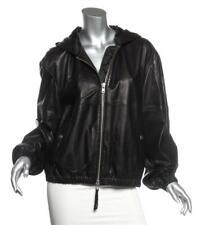 PUBLIC SCHOOL Black Lambskin Leather Lightweight Hoodie Bomber Jacket Coat NEW L