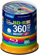 100 Verbatim Bluray Disc 50GB Dual Layer BD-R 6X Speed Original Spin From japan