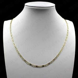 10K Yellow Gold Tri-Color 3MM Valentino Chain Necklace Diamond Cut, Real Gold