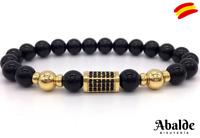 Elegante Pulsera Hombre Piedra Diseño Luxury Calidad Negro Regalo Día del Padre