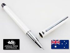 JINHAO 211 Gloss White Hooded Fountain Pen Extra Fine Nib + 5 Black Cartridges