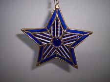 """Real Stained Glass, """" Star"""" Gold Plated ,  5"""" x 5""""  Suncatcher,Red White & Blue"""