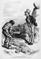 NEGRO SOUTHERN BLACK MAN IN PRISON STRIPES WITH PARDON FROM GOVERNOR MASSA MOSES
