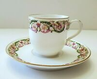 ANTIQUE LIMOGES FRANCE CHARLES MARTIN GREEN & PINK DEMITASSE CUP & SAUCER 1891