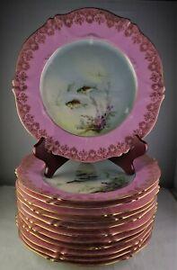 12 Antique Limoges Fish Plates Artist Signed Albert Pink Verge Gold Lace Trim