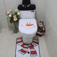 Set Of 3 Christmas Festive Santa Snowman Reindeer Toilet Seat Cover Bathroom US