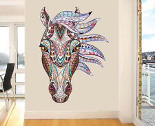 Colourful Decorative Horses Head Wall Art Vinyl Stickers Mural Transfer Decal Jumbo 118cm X 86cm