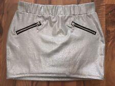 Tally Weijl Minirock Rock Silber Grau Glitzer Zipper Reißverschluss XXS-XS 32-34