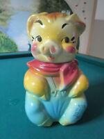 """AMERICAN BISQUE COOKIE JAR PIG 12"""" C1950s"""