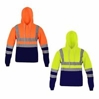 Men High VIS Reflective Visibility Hoody Hi Viz Highway Workwear Pullover Hoodie