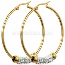 Gold Tone Steel Big Round Circle Rhinestone Hoop Earrings Women's Unique Gift