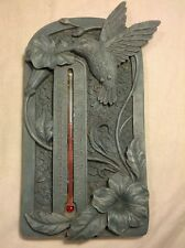 """Nature's Path Garden Thermometer with Hummingbird Resin 8"""" x 4"""""""