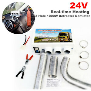 24V Portable Car Heating Compact Heater 3 Hole 1000W Window Defroster Demister