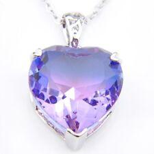 Xmas Purple Watermelon BI-COLORED Tourmaline Gems Silver Heart Necklace Pendants
