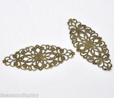 30 Bronze Tone Filigree Flower Wraps Connector 8x3.5cm