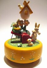wooden music box with bunnies