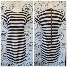 ESPRIT Espirit Cotton Smart Navy Cream Striped Nautical Dress Size 10 Occasion