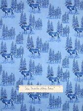 Riverwoods Fabric - Moose Scene Sky Blue - Woods Water Wildlife Cotton YARD