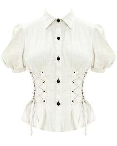 Devil Fashion Womens Steampunk Blouse Top VTG Off White Gothic Victorian Shirt