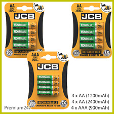 JCB Rechargeable Batteries AA AAA NiMH Pre Charged 1200 2400 900mAh NEW UK