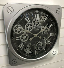 Black & Silver Square Mechanical Skeleton Moving Gear Wall Clock Vintage Retro