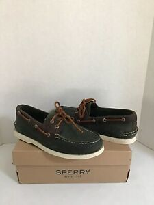 Sperry Top Sider Men's Boat Shoes A/O 2-Eye Olive/Brown STS21716 Sz 8M NWB