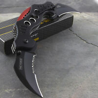 "10.25"" DUAL BLADE KARAMBIT SPRING ASSISTED TACTICAL FOLDING KNIFE Pocket Open"