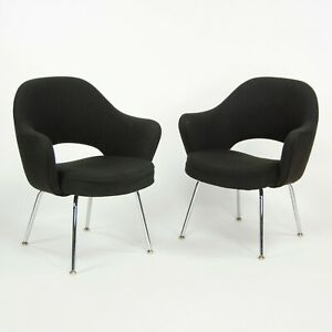 1970s Eero Saarinen Knoll Executive Brown Fabric Arm Chair with Chrome Legs 4x