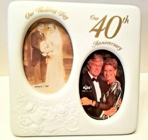 """RUSS """"White Lace And Promises"""" Porcelain Our 40th Anniversary Photo Frame NEW"""