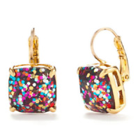 KATE SPADE 12K Gold Plated Multi Glitter Square Leverback Earrings