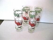 Set of 4 Glasses, Hazel Atlas, Cars, Transportation, Horse, Carriage, Dog, Vtg