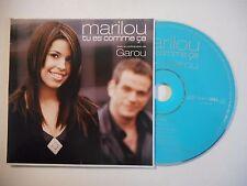 MARILOU feat. GAROU : TU ES COMME CA ♦ CD SINGLE PORT GRATUIT ♦