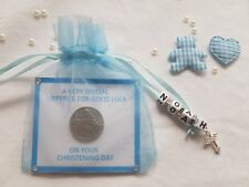 PERSONALISED BABY BOYS LUCKY SIXPENCE CHRISTENING DAY GIFT with Teddy & Heart