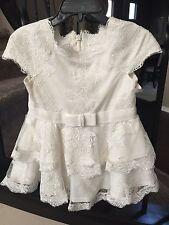 New Designer Tadashi Shoji Baby Girl White Lace Party Dress Size 2T Wedding