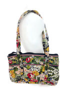 Vera Bradley Women's Poppy Fields Black Multi Floral Cotton Shoulderbag Handbag