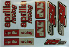 APRILIA RS125 Calcomanías Pegatinas rojo y blanco, RS 125 Racing IP 9 Pieza