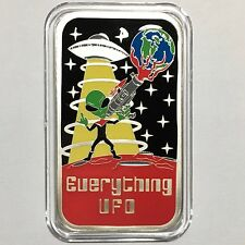 Everything UFO 1 oz 999 Silver Enameled Art Bar Collectible Ingot V2 Scarce 100