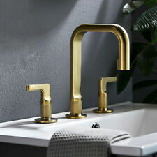 Luxury Brushed Gold Bathroom Faucet Basin Sink Deck Mounted Brass Dual Handles