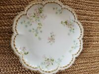 CH Field Haviland Limoges Cake Plate 9 3/4 inches gold trim