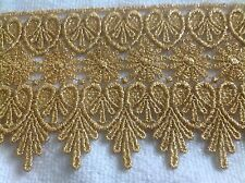 NEW 3 3/4 INCH GOLD METALIC MEDALLION LACE FABRIC TRIM, J's Button Hole