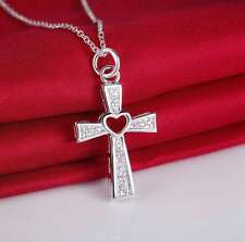"Womens 925 Sterling Silver CZ Crystal Love Heart Cross 18"" Chain Necklace #N178"