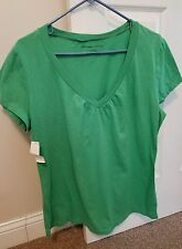 Women's New York and Company Green Short Sleeve T Shirt 100% Cotton NWT Large