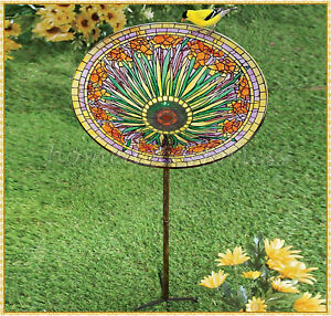 Colorful Floral Glass Bird Bath Bowl Feeder Garden Yard Stake Lawn Home Decor