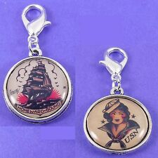 Sailor Jerry Clip On Charm annata Rockabilly Nautico Tatuaggio Pirata PIN UP 50 S
