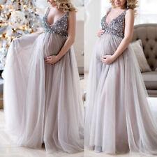 Embarazo Mujeres Cuello Lentejuelas Largo Maxi Bata Fotografía Tiroteo Premamá