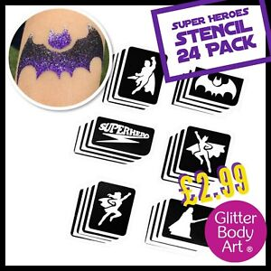 Superhero Glitter Tattoo Stencils - 24 Pack - Superman Batman Temporary Tattoos