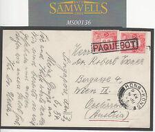 MS136 1934 JAPAN Franking Singapore RP PPC Per HONG KONG *PAQUEBOT* Card Austria
