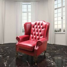 Chesterfield Georgian High Back Wing Chair UK Handmade Old English Gamay Leather