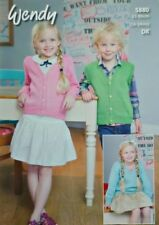 KNITTING PATTERN Childrens V-Neck Waistcoat Cardigan & Jumper DK Wendy 5880